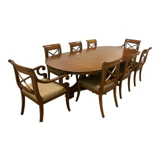 Conference Table Double Pedestal Table & Baker Milling Road Chairs For Sale