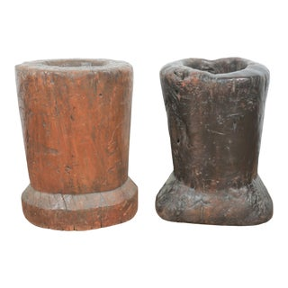 Early 1900's Primitive Wood Mortars For Sale