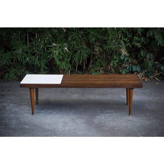 Mid-Century Slat Bench Coffee Table - Image 2 of 4
