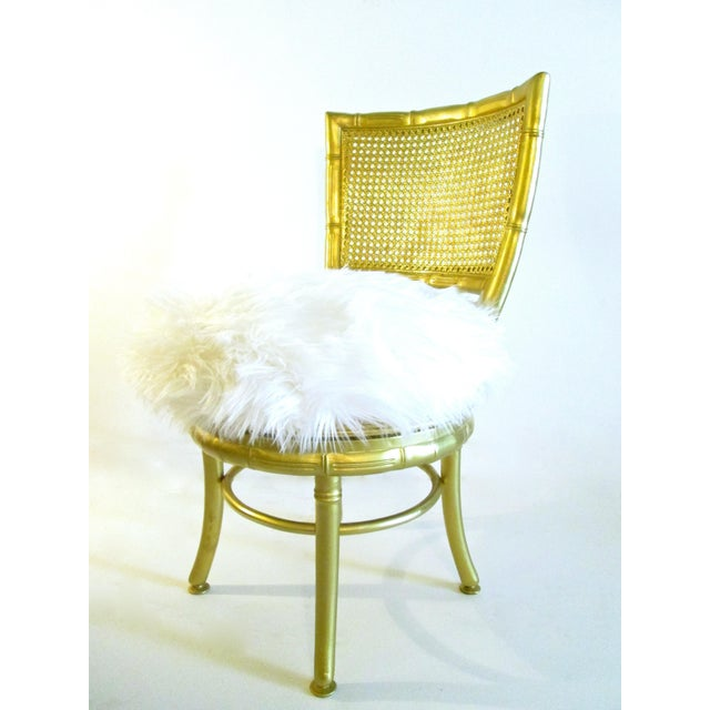 Gold Faux Bamboo & Fur Swivel Chair - Image 4 of 8