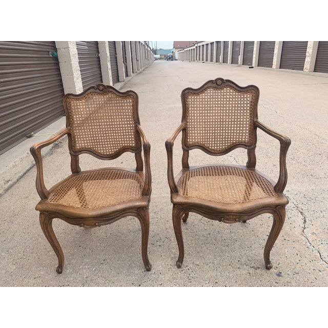 Early 20th Century Early 20th Century French Louis XV Style Walnut Caned Fauteuils- a Pair For Sale - Image 5 of 13