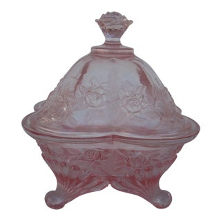 Federal Glass Lidded Compote For Sale
