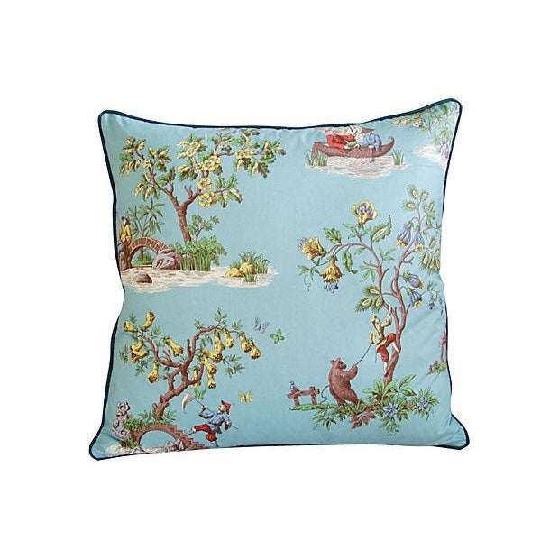 Powder Blue Scalamandré Pillows - A Pair - Image 2 of 7