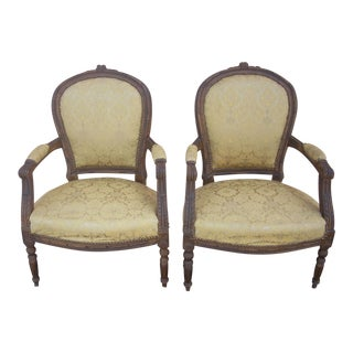 Late 19th Century Antique Victorian Fauteuil Chairs - A Pair For Sale