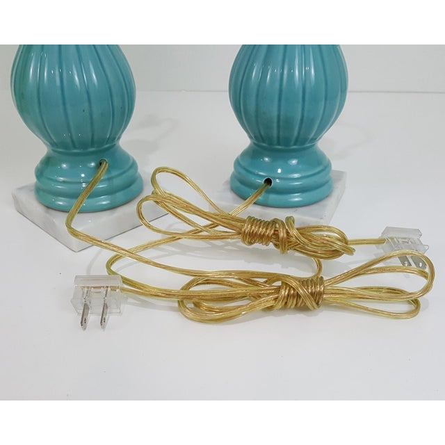 Brass Mid-Century Modern Aqua Blue Pottery Lamps With Chartreuse Shades, a Pair For Sale - Image 7 of 10