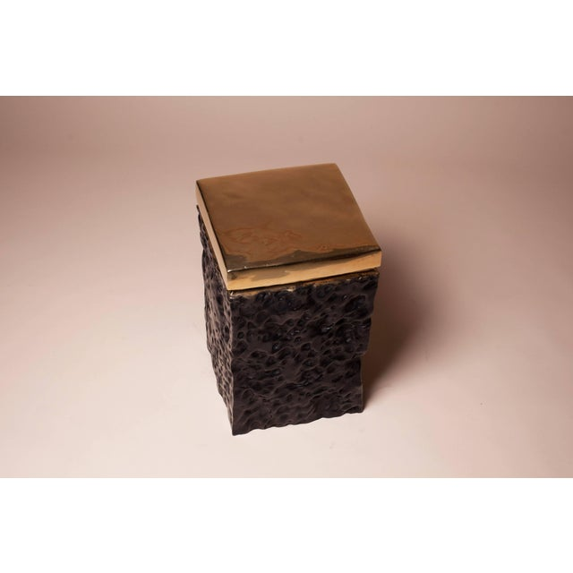 2010s Black and Bronze Hand Casted Stool For Sale - Image 5 of 8