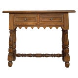 Image of 19th Spanish Walnut Console Table With Two Drawers For Sale