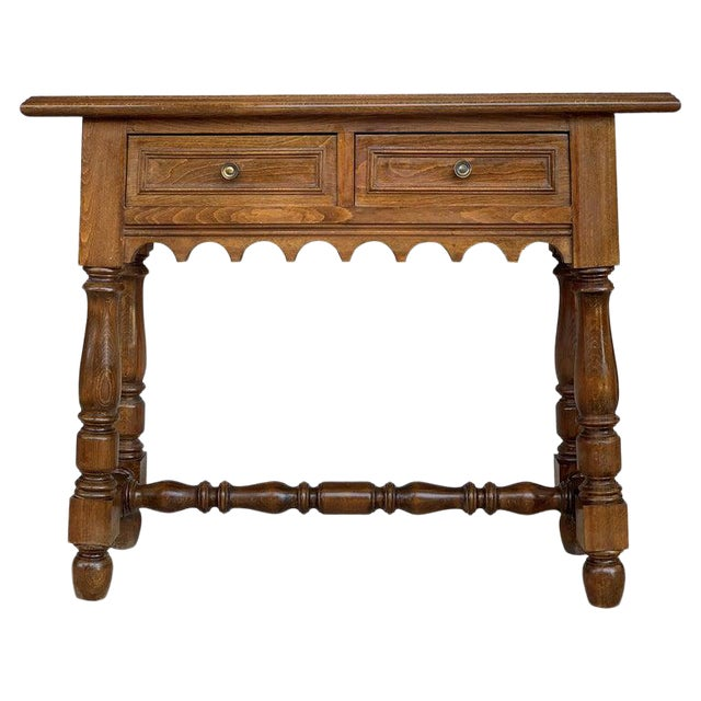 19th Spanish Walnut Console Table With Two Drawers For Sale