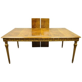 20th Century Italian Neoclassical Burl Wood Walnut Gold Giltwood Dining Table With Two Leaves For Sale