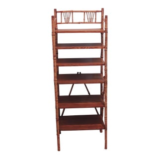 Antique Victorian Burnt Bamboo Bookcase Book Shelf Etagere For Sale