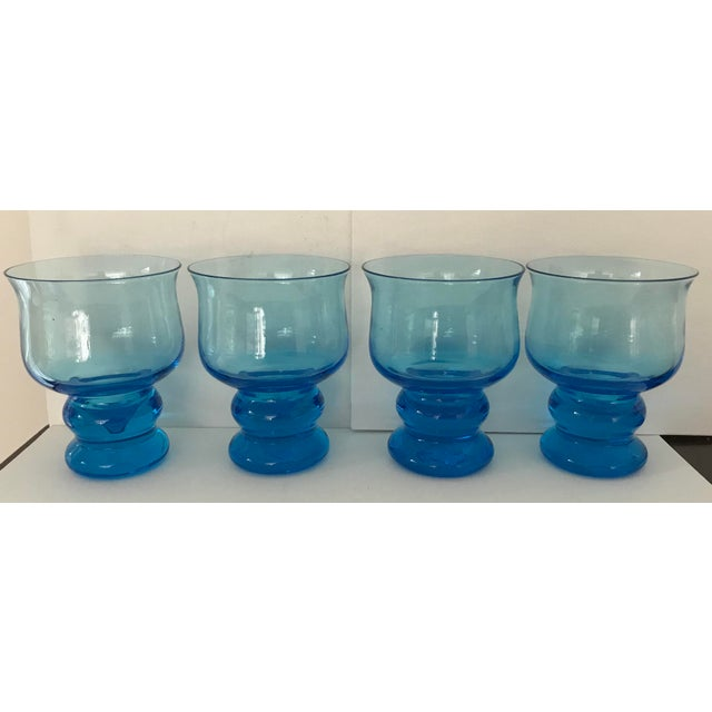 Vintage Hand Blown Rocks Glasses Aqua Blue Turquoise - Set of 4, (10 Available) For Sale - Image 9 of 11