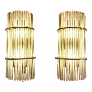 1970s Vintage Gaetano Sciolari Brass & Glass Rod Sconces For Sale