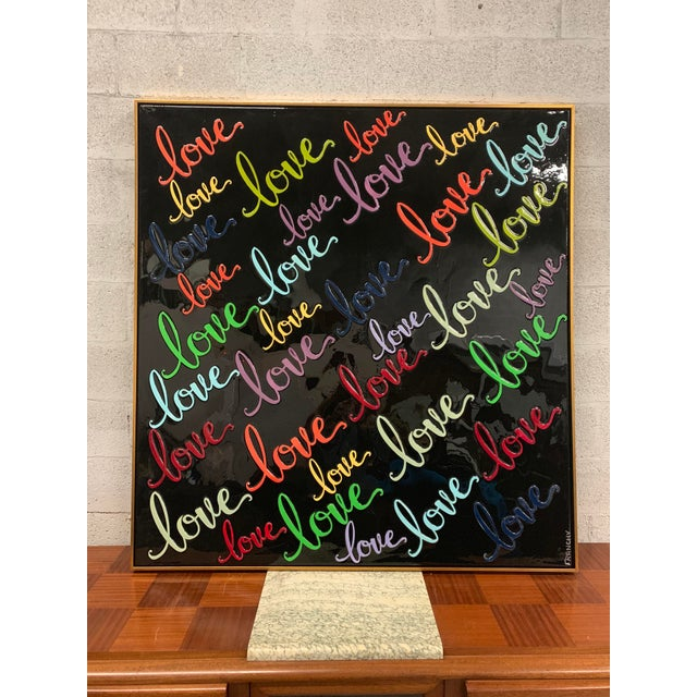 Monumental oil painting framed with resin on canvas with LOVE words. Beautiful color and design - the piece is signed by...