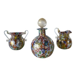 Gambaro & Poggi Murano Millefiori Set With Perfume Bottle, Double Handle Vase, and Mini Pitcher - Set of 3 For Sale