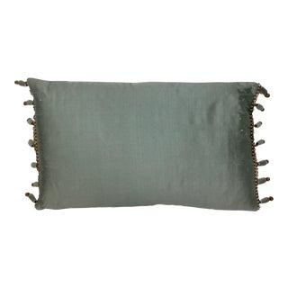 Boho Chic Silk Aqua Beaded Pillow For Sale