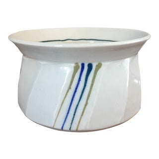 Vintage White Studio Pottery Bowl For Sale