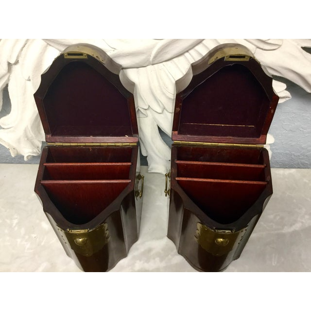Auburn Early 20th Century Antique Mahogany Knife Document Boxes - A Pair For Sale - Image 8 of 11