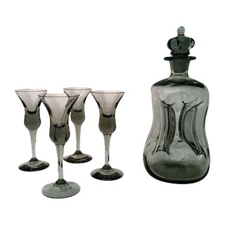 Mid-Century Danish Black Glass Decanter Set For Sale