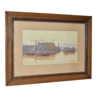 Early 20th Century European Watercolor Painting by Jophson C.1909 For Sale