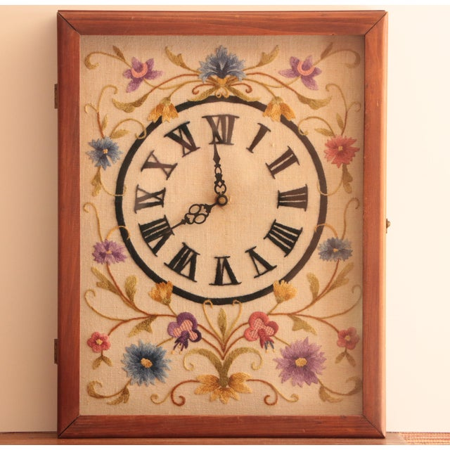 Blue Jacobean Floral Crewel Embroidery Clock For Sale - Image 8 of 8