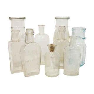 Antique French Bottle Collection S/9 For Sale