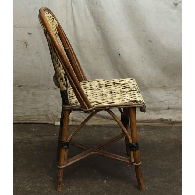 Wicker & Wood Frame Chair For Sale - Image 4 of 7