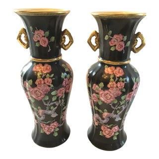 Antique Pearl Pottery Pekin Vases - a Pair For Sale