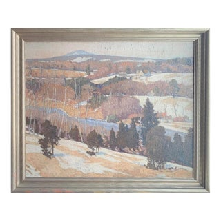 Early 20th Century Antique Joe H. Wheater Southern View Mount Monadnock Oil Painting For Sale