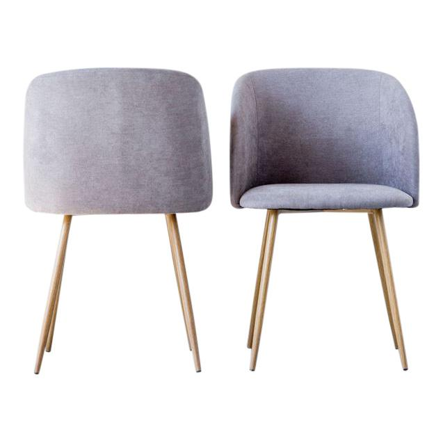 "Metal & Fabric Upholstered Chair, Grey fabric. Measurements: Width: 21"" Depth: 20.25"" Height: 32.25"""
