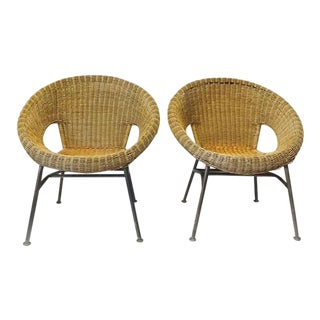 Mid Century Modern Rattan Hoop Chairs Au Natural Wicker Saucer Lounge Chairs - A Pair