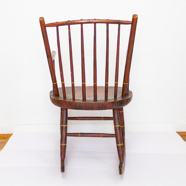 Early 19th Century Grain Painted Spindle Back Rocking Chair | 19th Century Red Primitive Antique For Sale - Image 5 of 12
