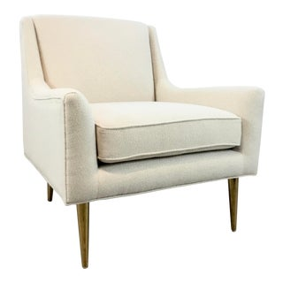 Worlds Away Modern White and Brass Wrenn Lounge Chair For Sale