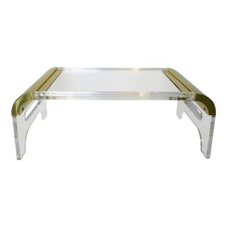 Manner of Pace Lucite and Brass Waterfall Breakfast Tray