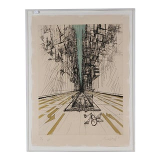 "Abstract Cityscape Aquatint Etching: ""The Poet"" For Sale"