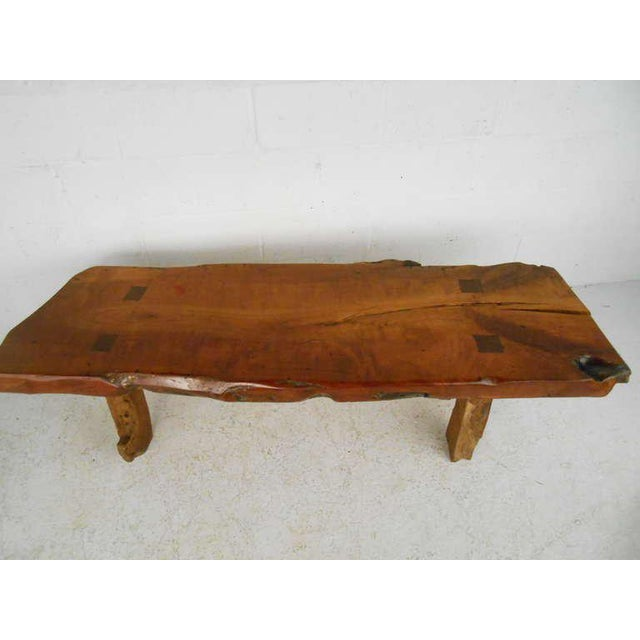 Rustic Wood Slab Coffee Table For Sale - Image 5 of 8