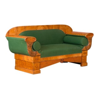 Early 19th Century Antique Danish Birch Biedermeier Sofa For Sale