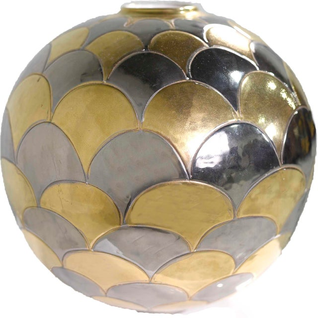 Vintage Bellini Italy Fish Scale Metallic Gold and Silver Mirrored Ceramic Vase For Sale - Image 10 of 10