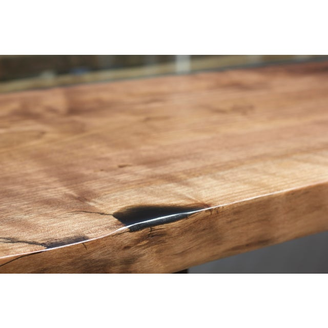 Claro Walnut Slab Dining Table With Solid Brass Inlays + Glass River Center Display For Sale - Image 9 of 11