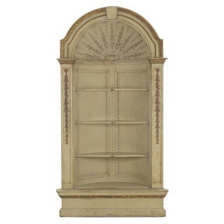 19th Century Neoclassical Painted Built-In Antique Corner Cupboard Cabinet For Sale