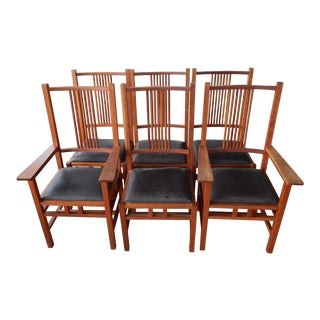 1990s Vintage M. T. Maxwell Mission Style Spindle Dining Chair- Set of 6 For Sale