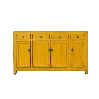 Chinese Distressed Rustic Yellow Sideboard Buffet Table Cabinet For Sale