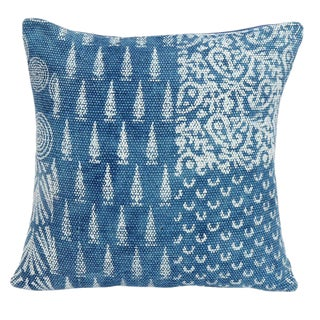 Tribal Blue and White Geometric Cotton Pillow For Sale