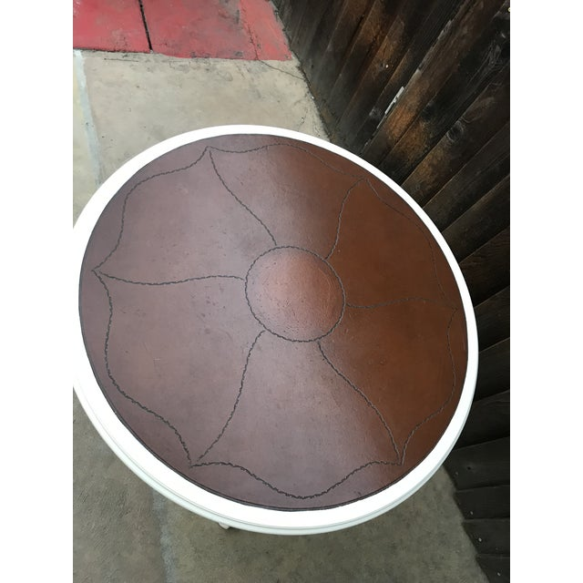 Leather Top Pedestal Table For Sale - Image 4 of 8