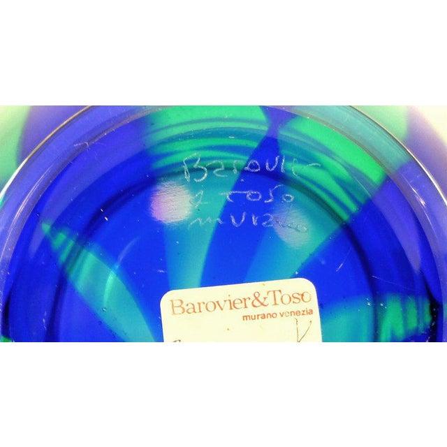 2010s Barovier & Toso Blue Mosaic Triangle Murano Venezia Glass Vase For Sale - Image 5 of 6