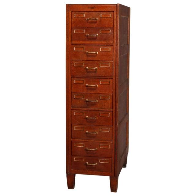 Antique Arts & Crafts Paneled Oak 10-Drawer Filing Cabinet, Yawmen & Erbe For Sale - Image 10 of 10