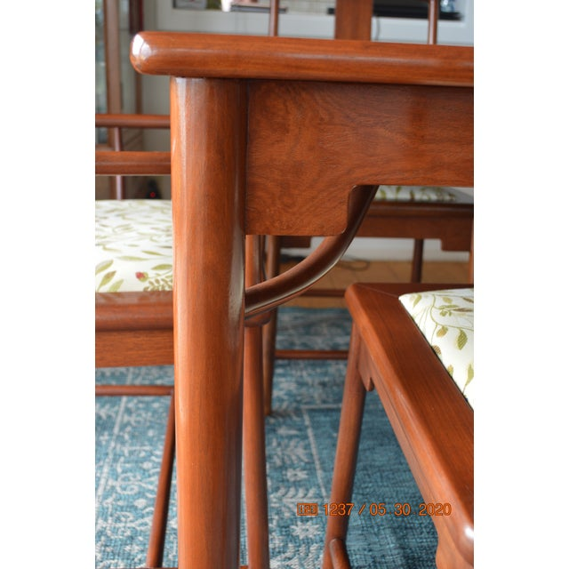 Wood Solid Rosewood Dining Set, Extension Table With 8 Chairs For Sale - Image 7 of 9