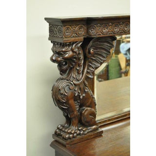Victorian Oak Buffet Sideboard and Mirror With Lions and Griffins Attr. Horner Preview