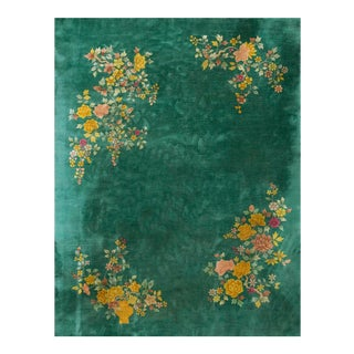 1920s Antique Chinese Art Deco Green Rug-9′ × 11′6″ For Sale