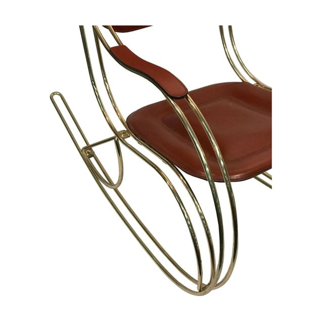 Super 1970S Vintage Italian Leather Seat Brass Rocking Chair Gmtry Best Dining Table And Chair Ideas Images Gmtryco