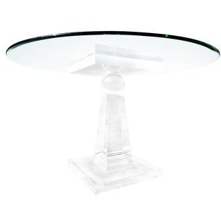 Vintage Hollywood Regency Lucite Pedestal Dining Table For Sale